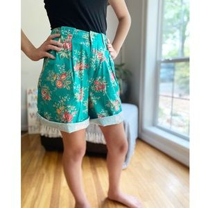 Vintage Bright Floral High Waist Pleated Shorts